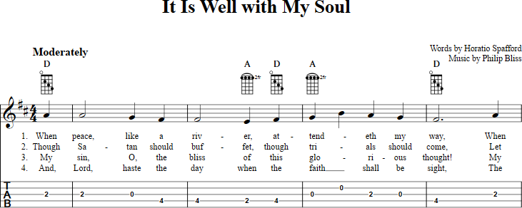 It Is Well With My Soul sheet music for banjo with chords, lyrics ...