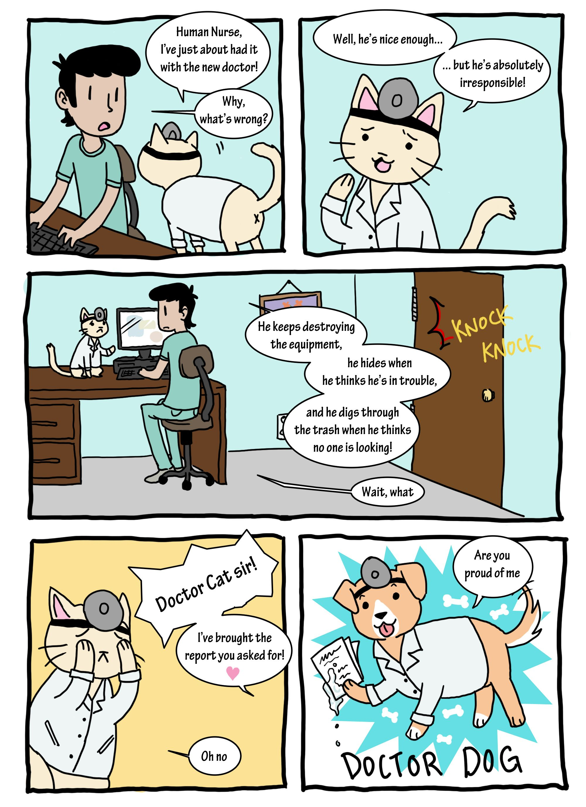 new docter Doctor cat, Cute comics, Anime funny