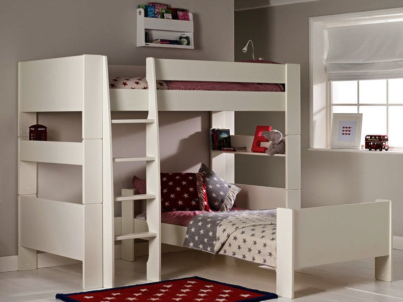 Solitaire White L Shaped Bunk Bed Room To Grow L Shaped Bunk Beds Cool Bunk Beds Kids Bunk Beds