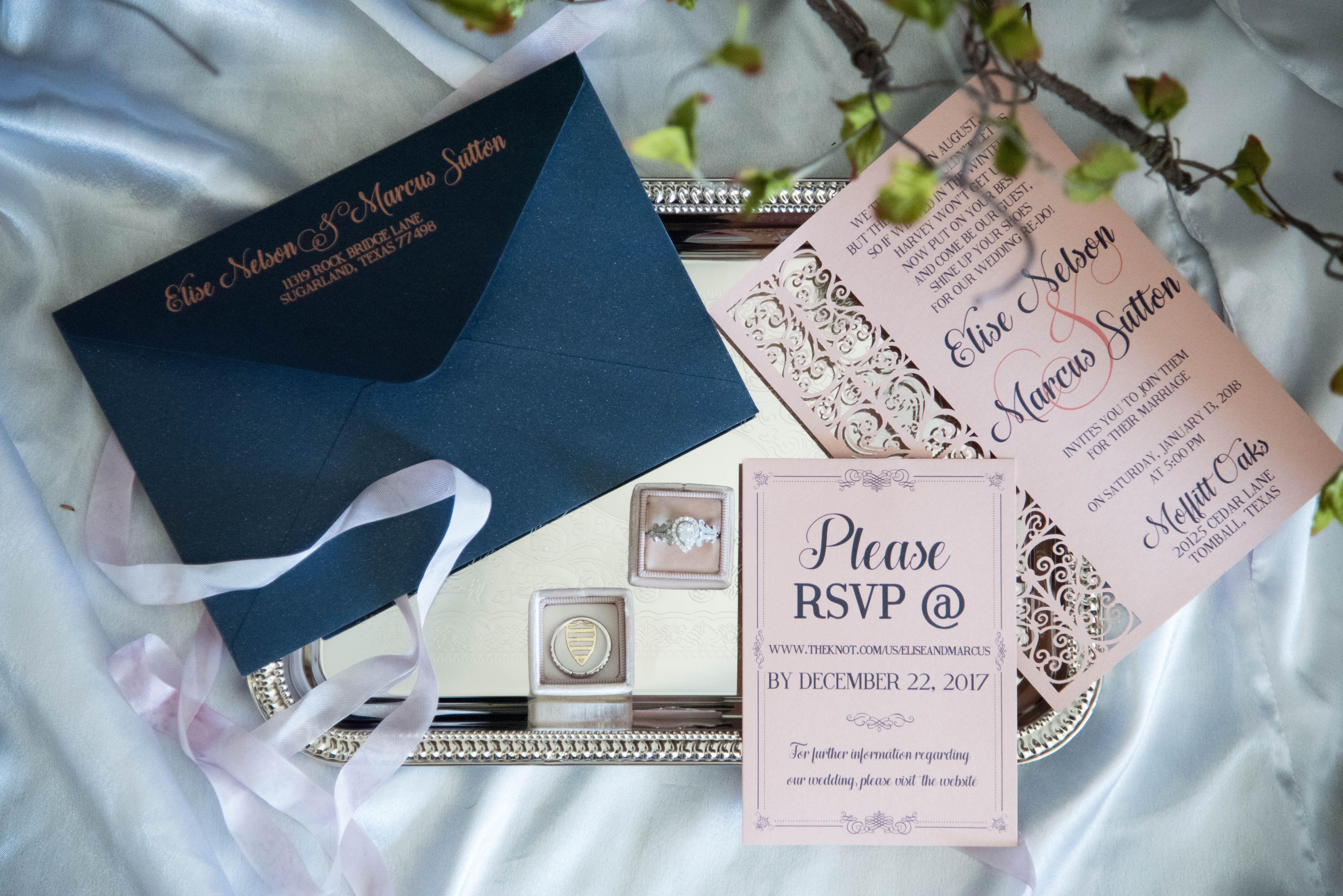 Navy and pink wedding invitation suite wedding invitations