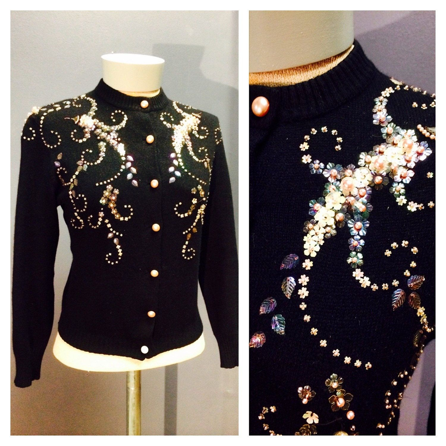 HEAVILY EMBELLISHED 1950's 1960's Vintage AB Sequined Pearls Black Cashmere Wool Spanish Made Cardigan Sweater Odette Palma De Mallorca L Xl by ChickaBoomVintage on Etsy