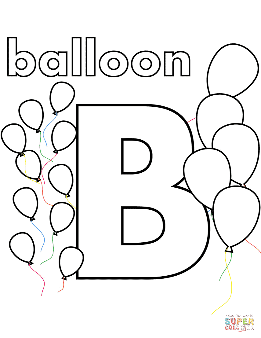 B Is For Balloon Coloring Page Free Printable Coloring Pages Abc Coloring Pages Letter B Coloring Pages Alphabet Coloring Pages