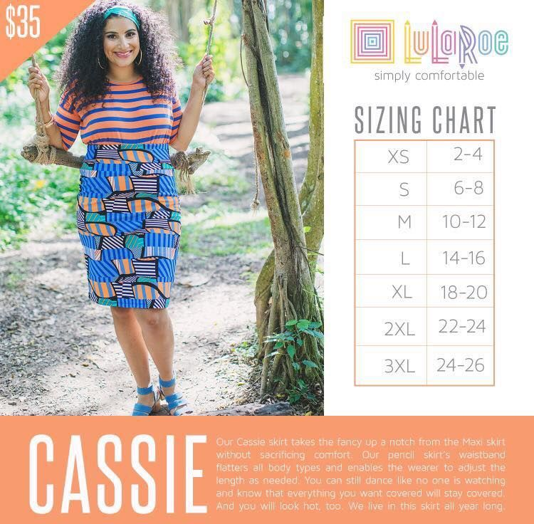 LulaRoe Cassie Skirt Size Chart. Love this professional and ...