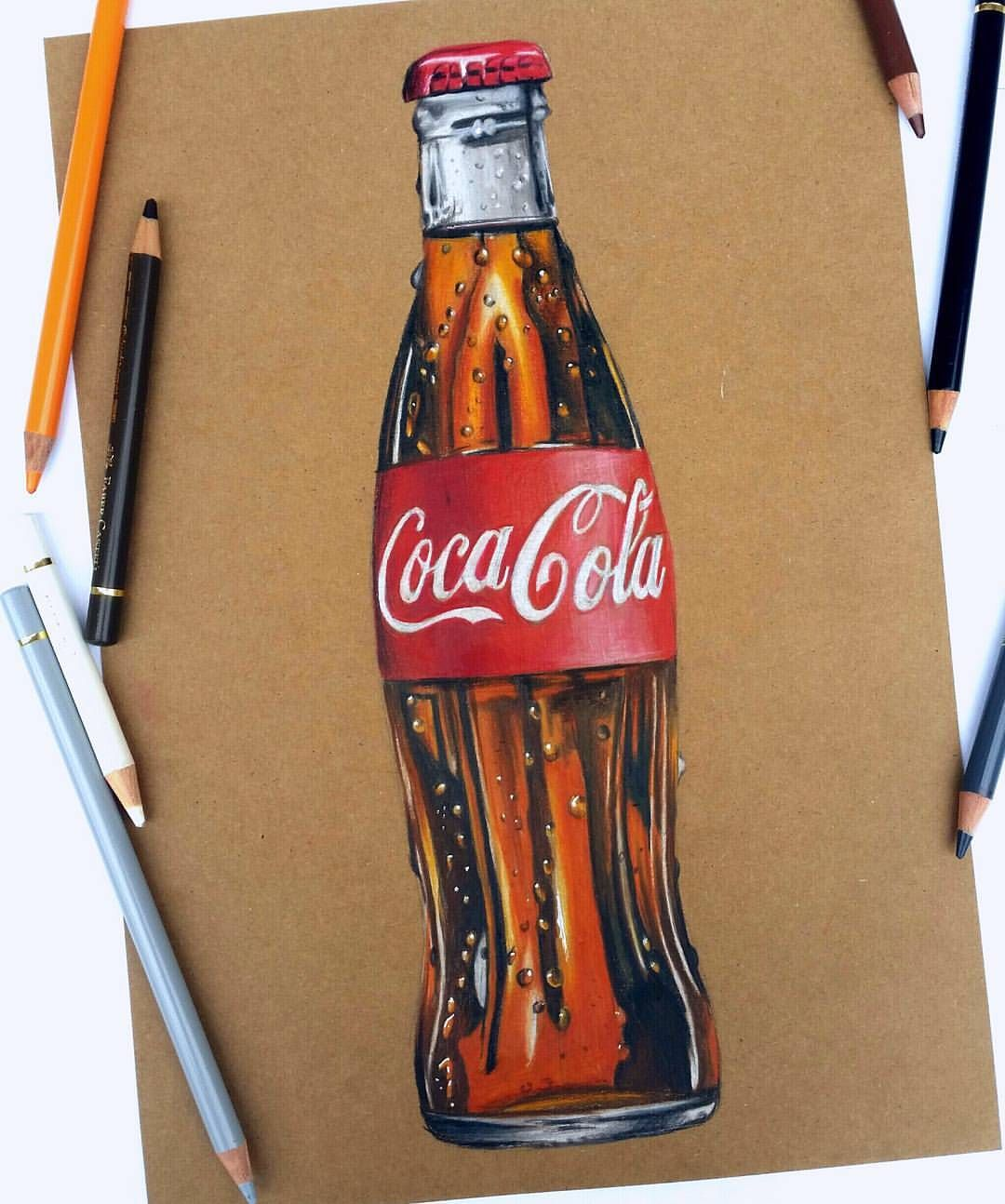 "Nahinart on Instagram: ""Finished coke bottle . . For this drawing I used Faber Castell Polychromo coloured pencils and Kraftstax Kraftpapier 280g/m2 . . .…"""