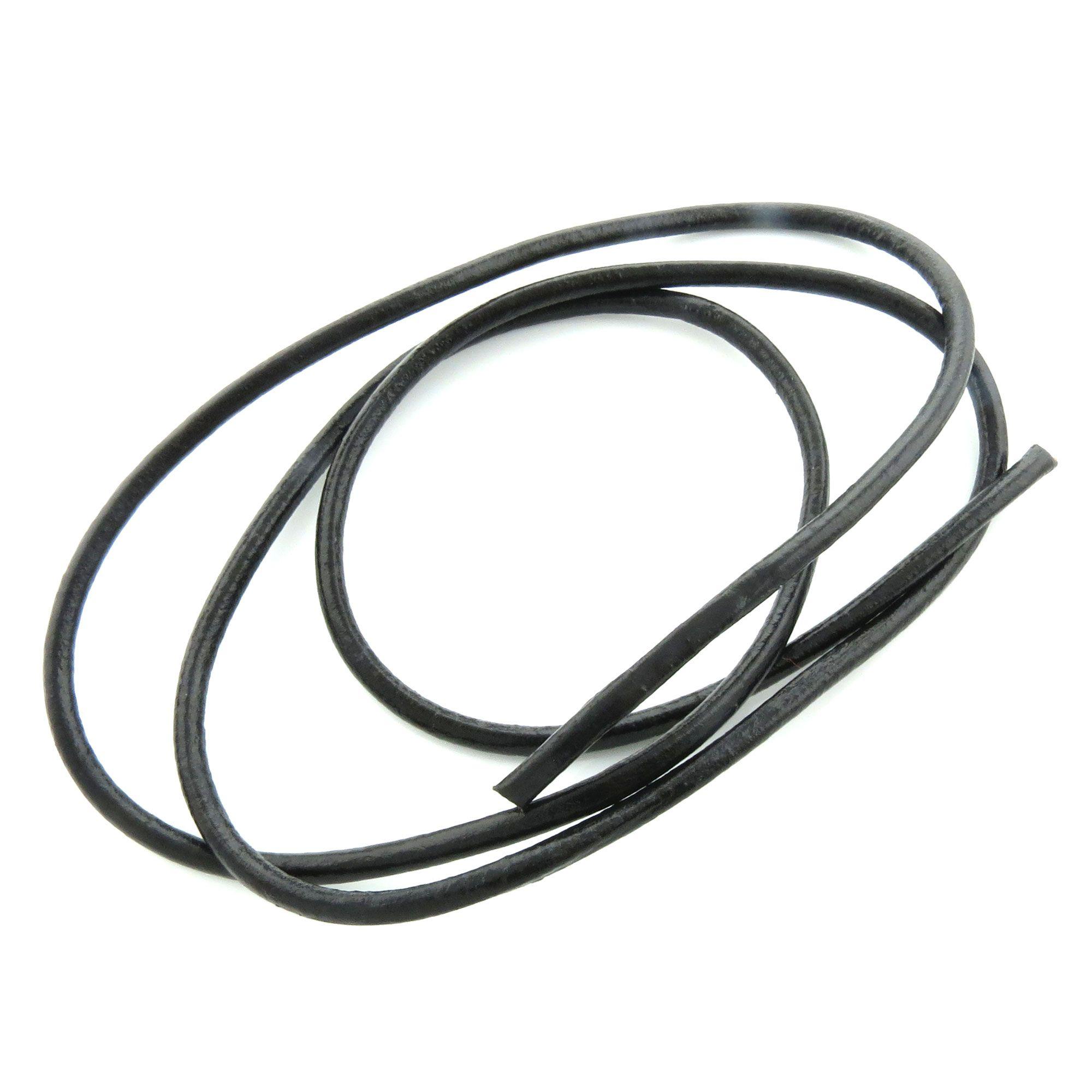 1m echte Lederschnur 5mm (2,75€ pro m) rund schwarz Leder Riemen ...