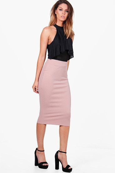 e954589c2d Bella Crepe Stretch Midi Skirt by Boohoo. Skirts are the statement separate  in every wardrobe