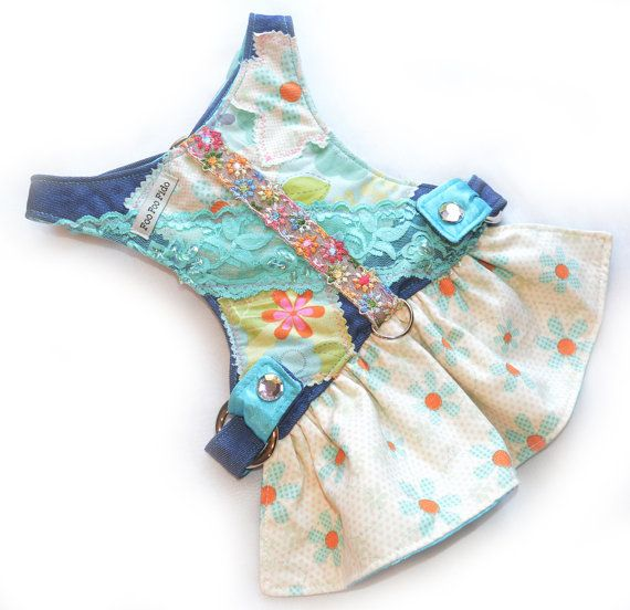 Dog Harness Powder blue denim with various cotton patches, turqouis