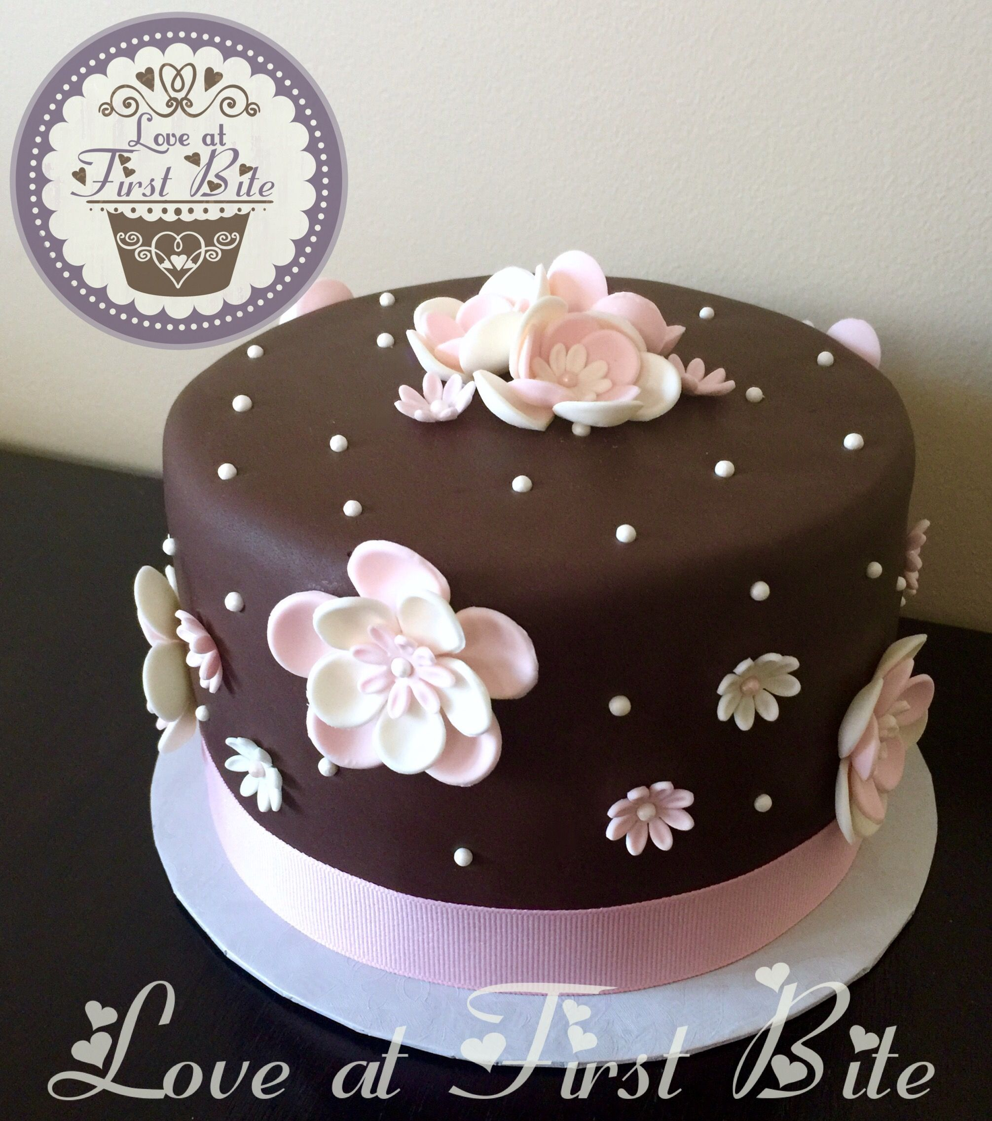 Pink and Brown Flower Cake