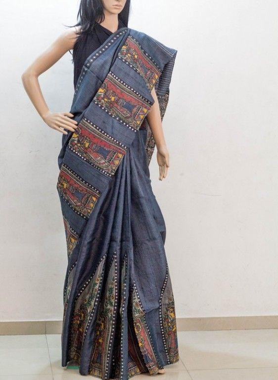 cfcb6657f2 Megha Kapadia – Hand Painted Grey Saree | CityShor Store | Desi ...