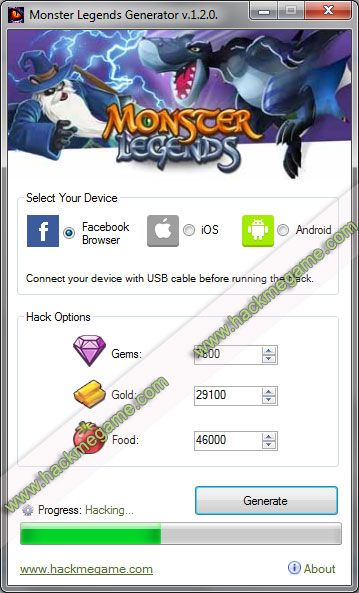 The Monster Legends Hack is an amazing cheats tool and Generator for Gems,  Gold and Food. This app works on Android (apk), iOS, Windows and Mac  devices.