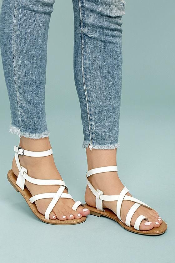 a2d3692ca6053  AdoreWe  Lulus Lulus❤️Designer Womens Kaya White Ankle Strap Sandals -  AdoreWe.com