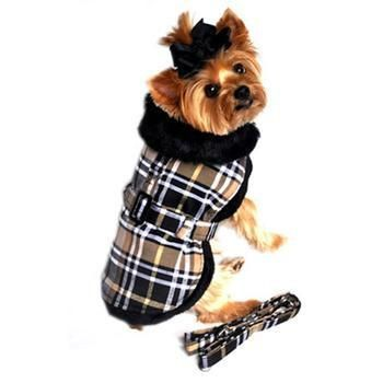 Brown Plaid Classic Dog Coat Harness with Matching Leash - BeauJax Boutique www.beaujax.com