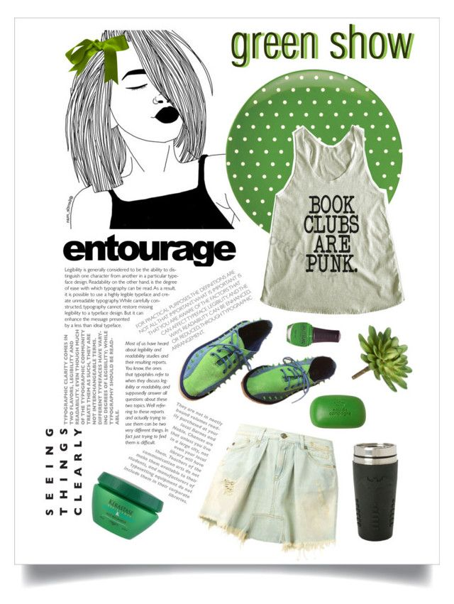 """""""Green show"""" by vinograd24 ❤ liked on Polyvore featuring SpaRitual, R13, Kate Spade, Sisley, Kerastase, GREEN, show and polyvoreeditorial"""