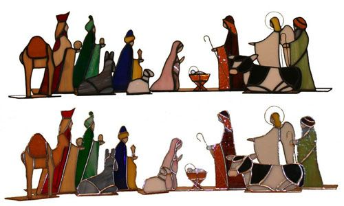 Christmas Nativity Set in Stained Glass
