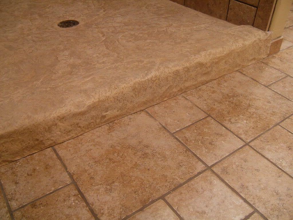 Stamped concrete shower pan basement remodel pinterest for Concrete bathroom floor