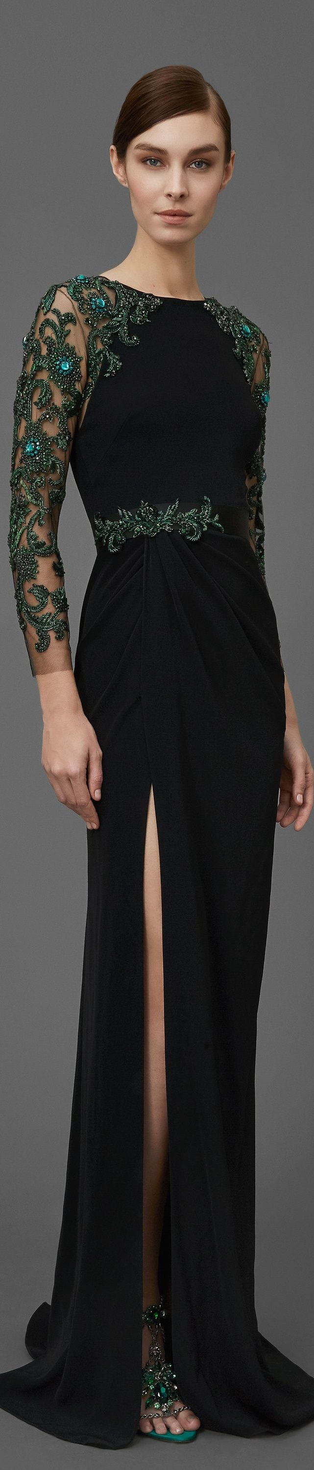 Marchesa pre fall gorgeous green velvet and lace oh my