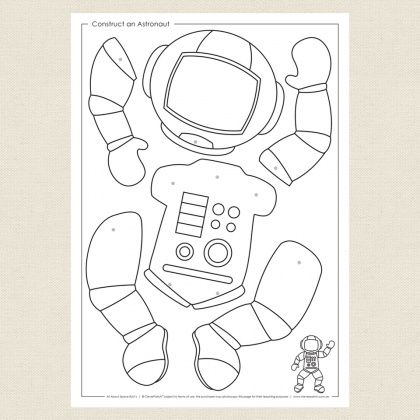 Childrens colouring in activity - Construct an Astronaut ...