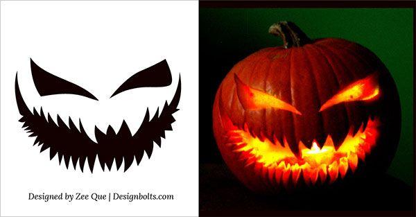 Free scary halloween pumpkin carving patterns stencils ideas 2014 8 halloween pinterest - Excellent halloween decoration using badass pumpkin carving stencil ...