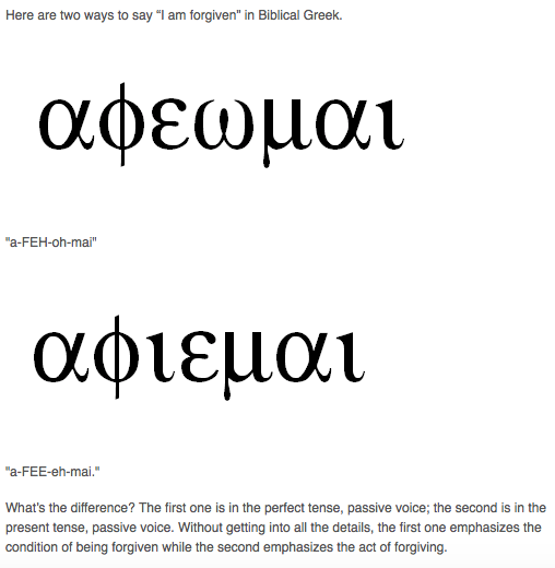 'I Am Forgiven' In Koine Greek