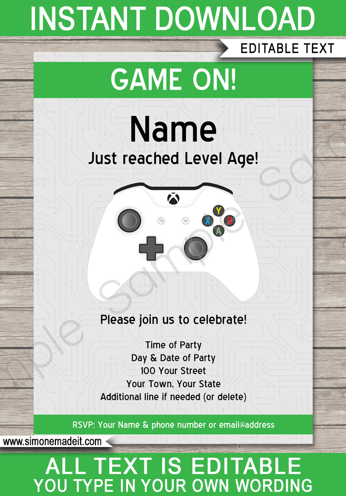 Xbox Party Invitations Template Xbox Birthday Party Party Invite Template Birthday Party Invitation Templates