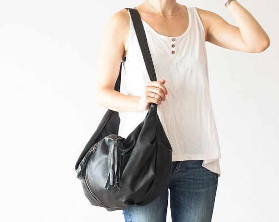 Black cross body bag leather, shoulder purse, hobo slouch bag ...