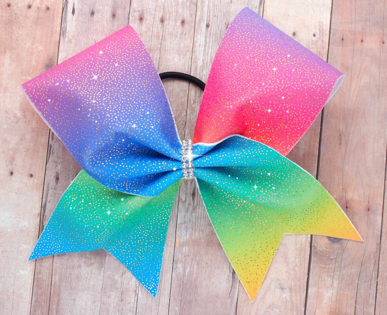 Rainbow cheer bow | Moños y Accesorios