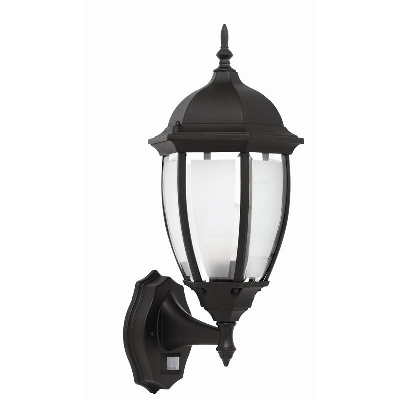 Brilliant 60w cambridge black exterior wall light with sensor i n 4370606 bunnings warehouse
