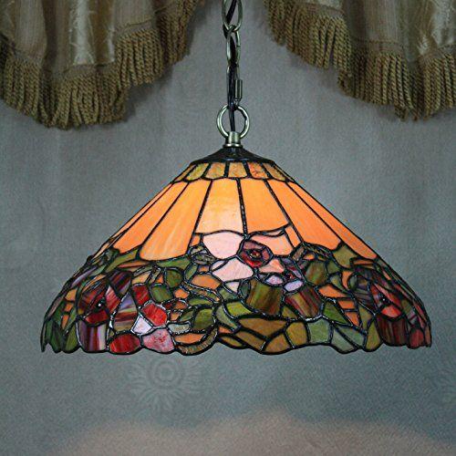 12-Zoll-Weinlese Wunderschöne Blumen-Buntglas Tiffany Deckenleuchte