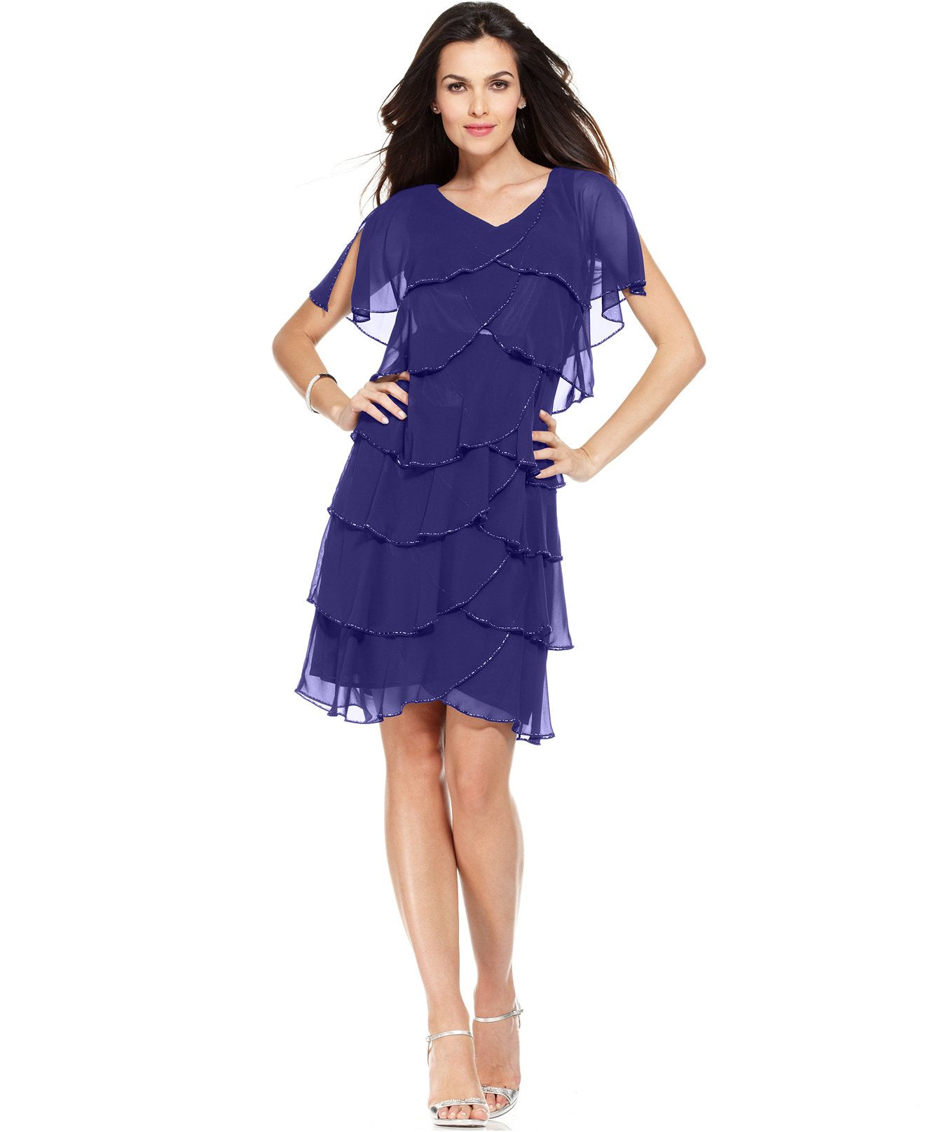 Patra petite short split sleeve beaded tiered dress dresses