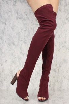 8280c15681d Burgundy Round Pointy Toe Thigh High Single Sole Chunky High Heel Ami  ClubWear Boots