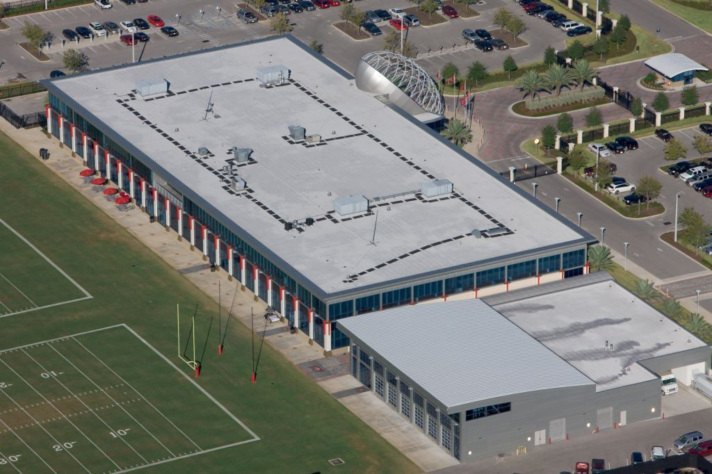 At the Tampa Bay Buccaneers training facility, walkway pads