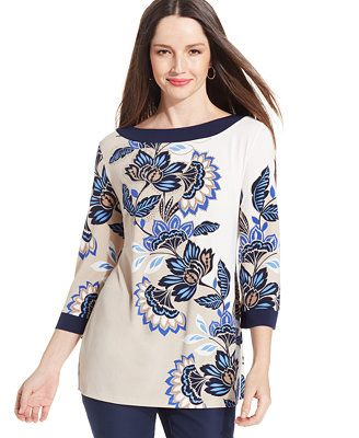 JM Collection Plus Size Printed and Embellished Tunic Top