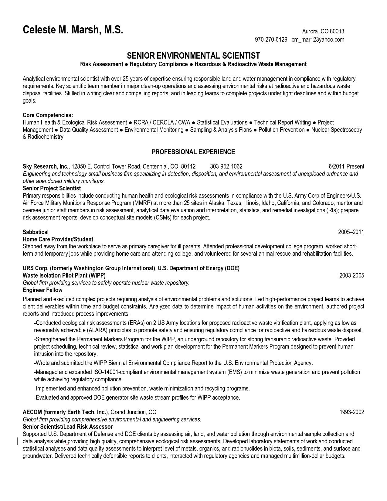 Environmental Science Resume Sample Http Www Resumecareer Info Environmental Science Resume Sample 4 Data Science Resume Examples Data Scientist