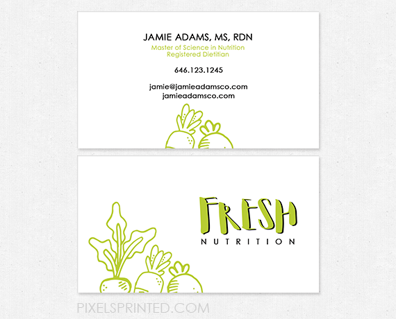 nutritionist business cards, personal chef business cards, healthy
