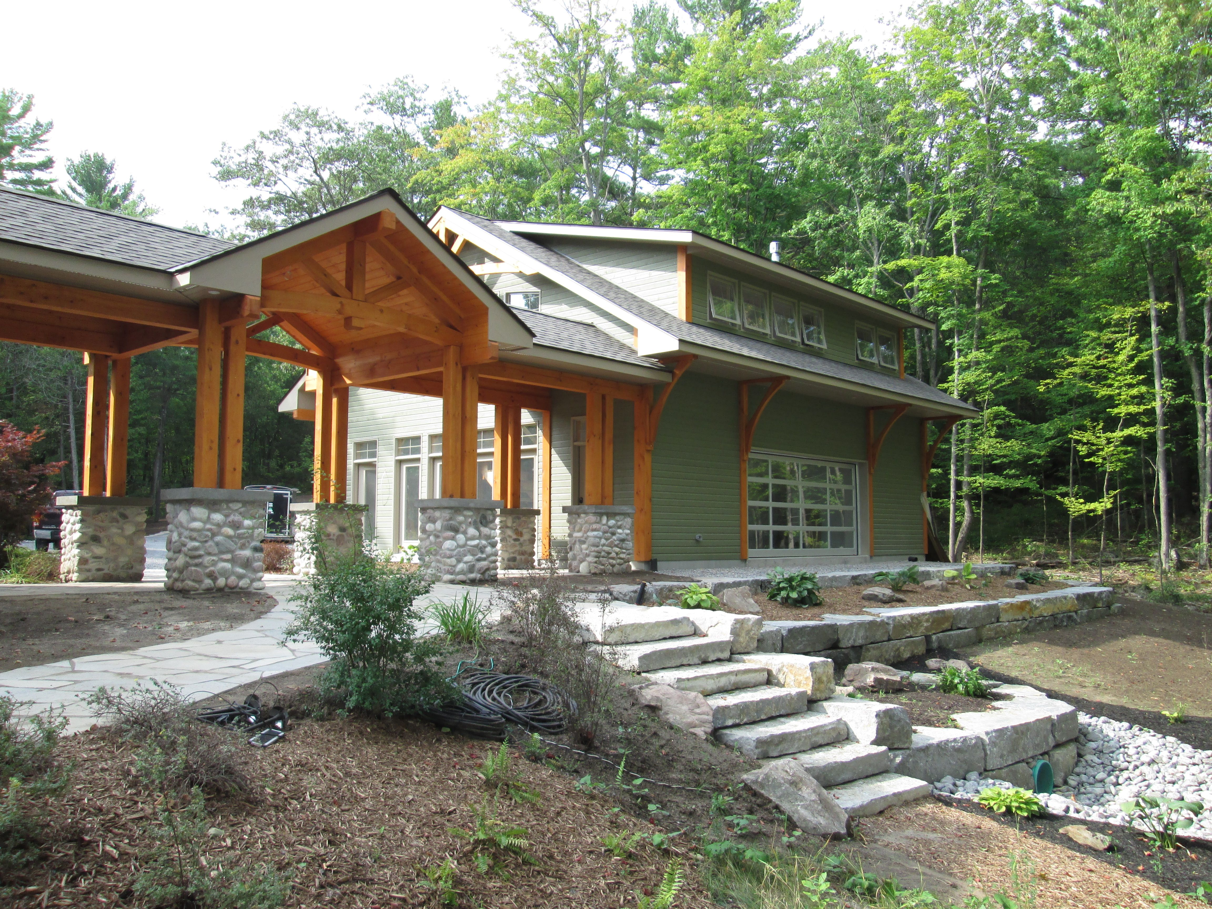 new garage and timberframe breezeway landscaping integrity