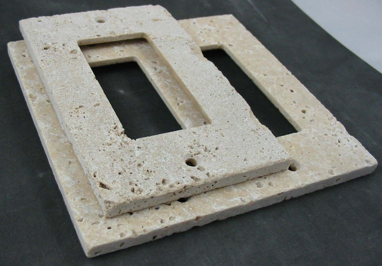 Flush mount travertine switch plates Rustic switch