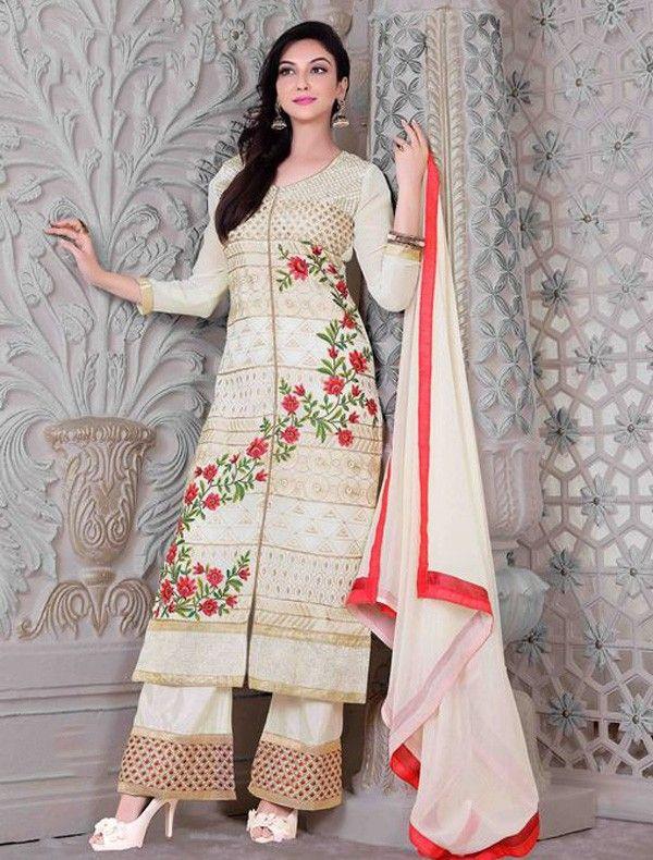 ab8f09b4f4 Georgette Machine Work Cream Unstitched Pakistani Suit - 2785 ...