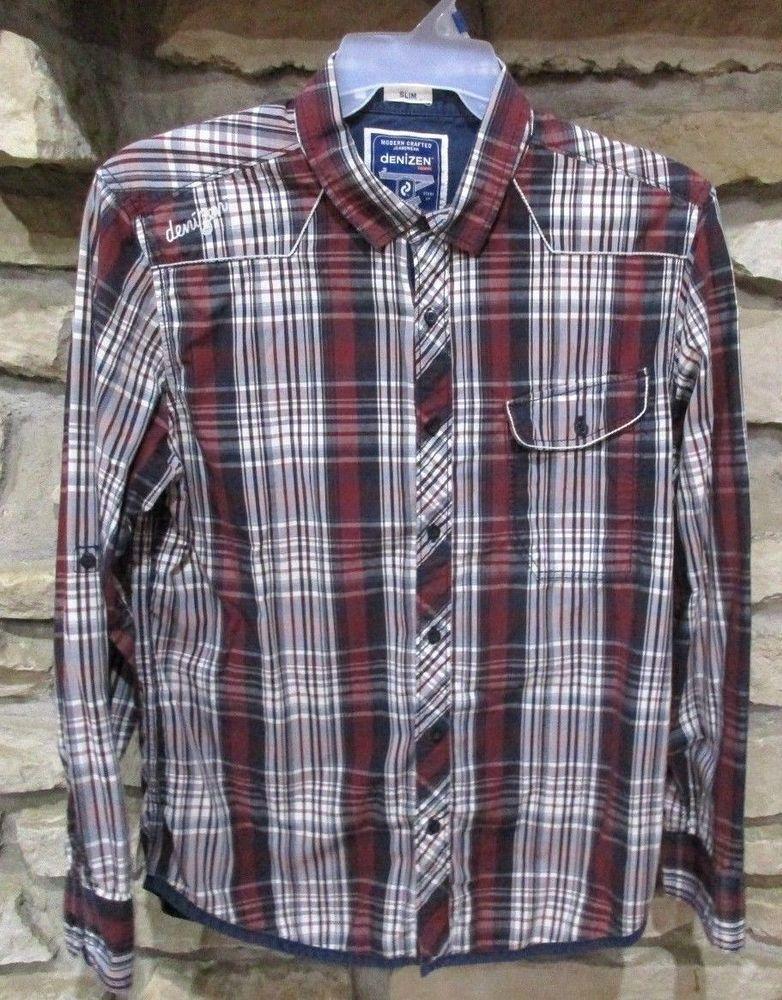 fac6bef1 Levi's Denizen Mens Shirt Size XL Red Plaid Slim Fit Long Sleeve Button  Front #Denizen #ButtonFront