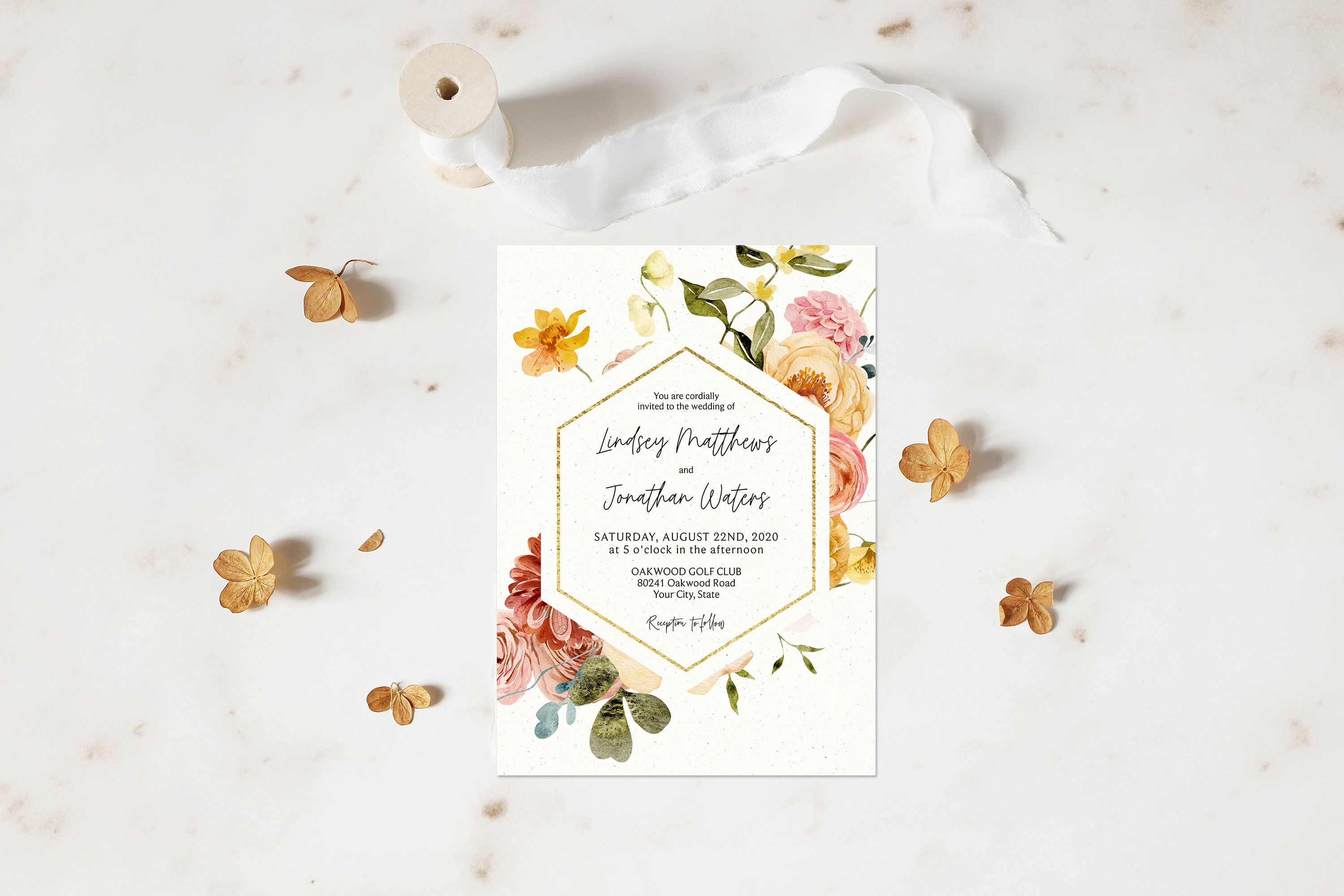 Pampas Grass and Pink Rose Thank You Card Boho Thank You Note Tropical Floral Wedding Thank You Editable Corjl Template 113 Dried Flowers