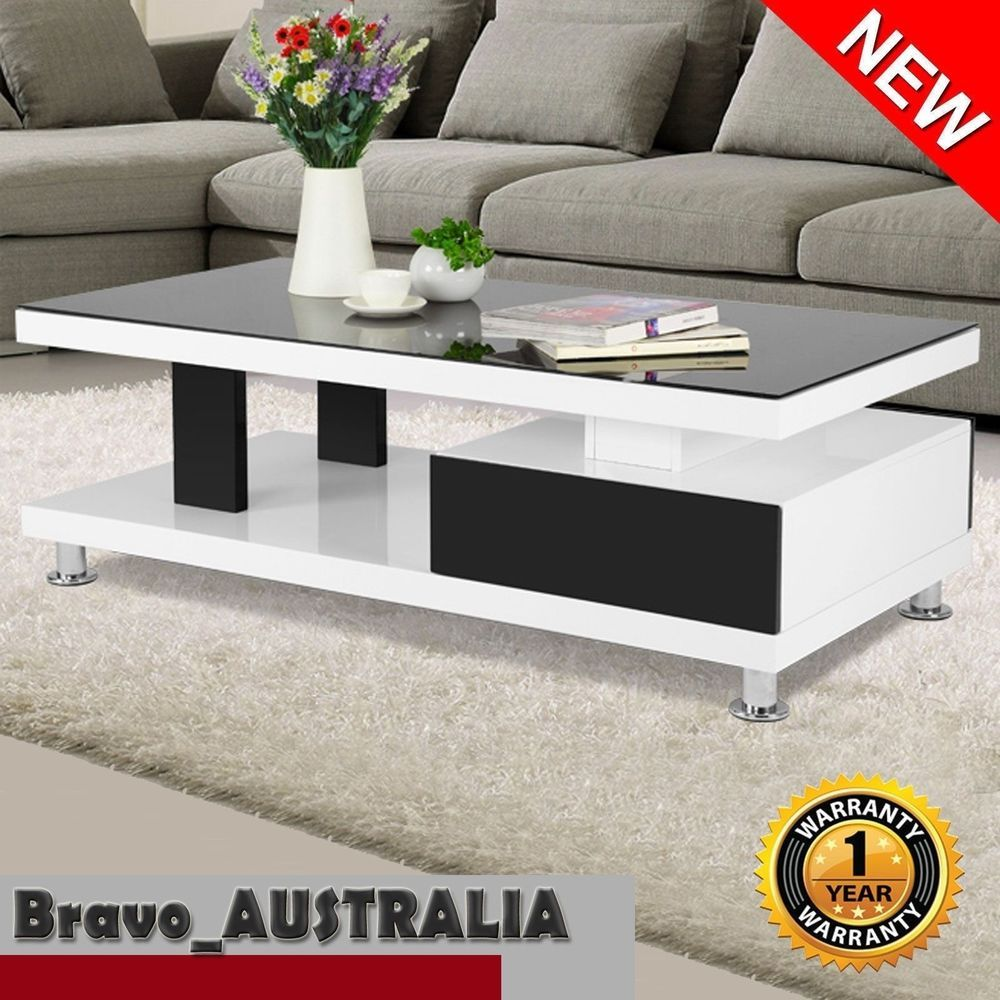 Modern High Gloss Coffee Side Table With Drawer Black And White Magazine Coffee Table Side Table With Drawer Tempered Glass Table Top [ 1000 x 1000 Pixel ]