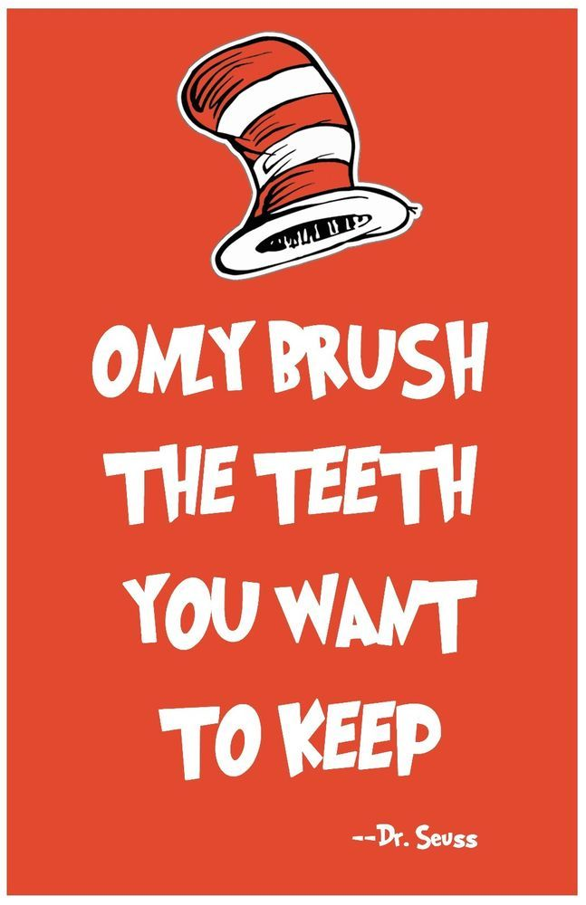 Dr Seuss Wall Art Teeth Print Home Decor Quote Poster 8x10 Rare Hot New