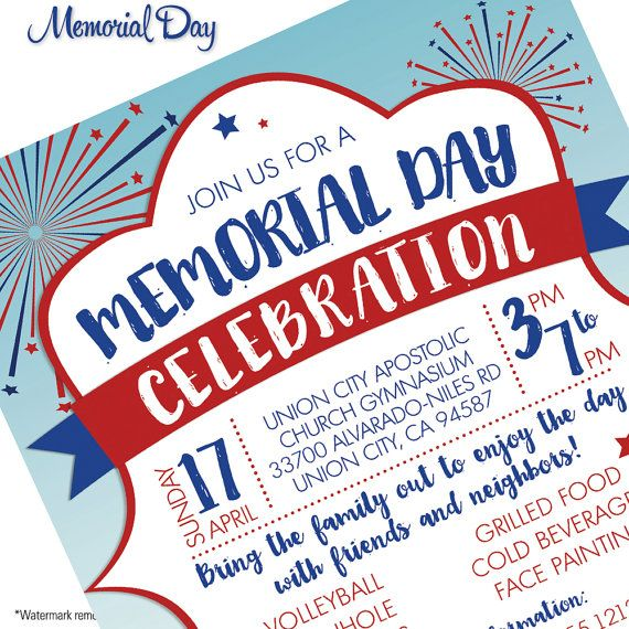 Memorial Day Flyer Invitation BBQ Family Picnic Block