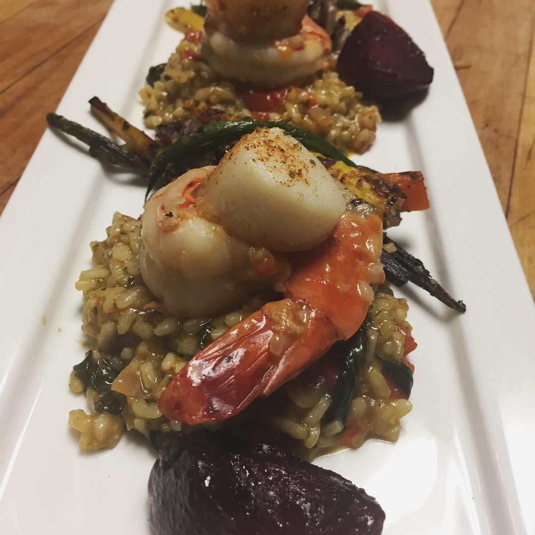 Tonight's special: jumbo shrimp and scallop over vegetable risotto. Join us for dinner 7 days a week!  #TurkishCuisine #ItalianCuisine #ThaiCuisine #FrenchCuisine #JapaneseCuisine #LebaneseCuisine #SpanishCuisine #GermanCuisine #KoreanCuisine #SouthAfricanCuisine #AustralianCuisine #CaribbeanCuisine #GreekCuisine #FilipinoCuisine #ScottishCuisine #IndianCuisine #MexicanCuisine #IndonesianCuisine #BrazilianCuisine #ChineseCuisine #AmericanCuisine #sushicuisine #bestbrunch…