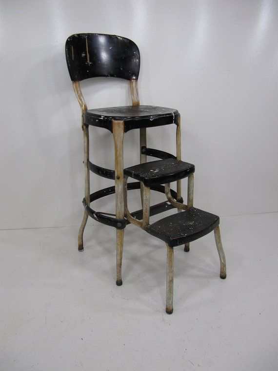 Wondrous Black And White Mid Century Cosco Stool Back Rest And Fold Cjindustries Chair Design For Home Cjindustriesco