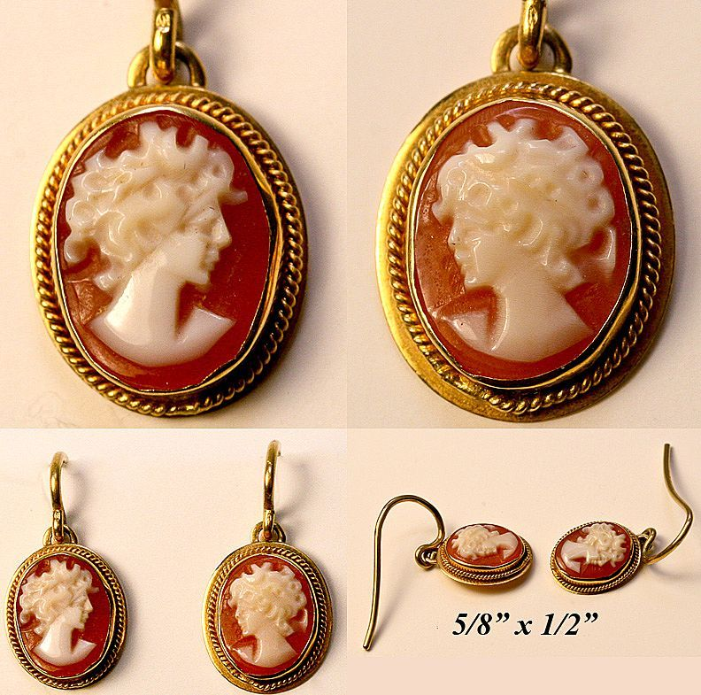 Antique Cameo 18 K Earrings Fine Vintage 18k Gold S Pair Silhouette From