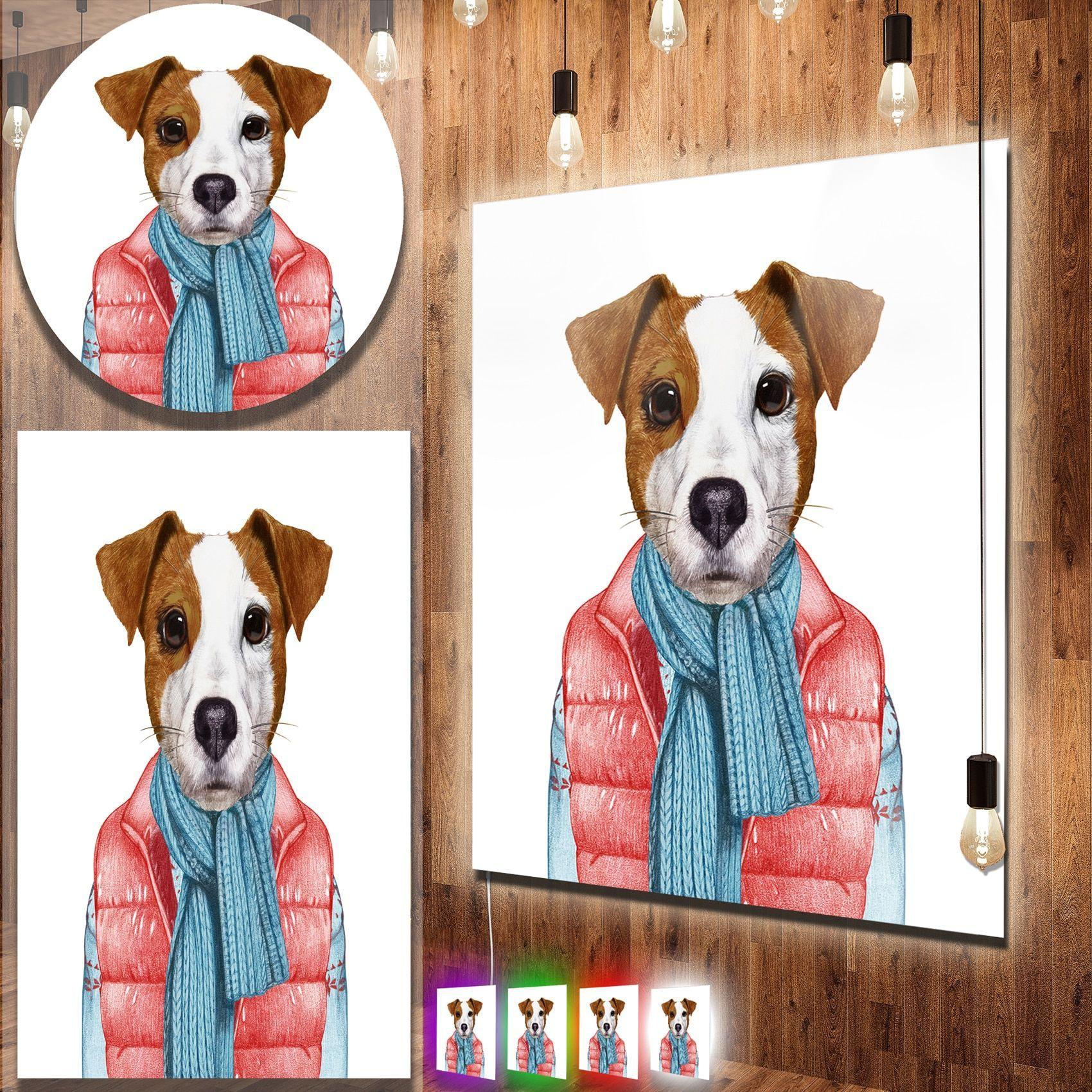 Designart Funny Jack Russell In Formal Suit Modern Animal Metal Wall Art Animal Portraits Art Art Metal Wall Art