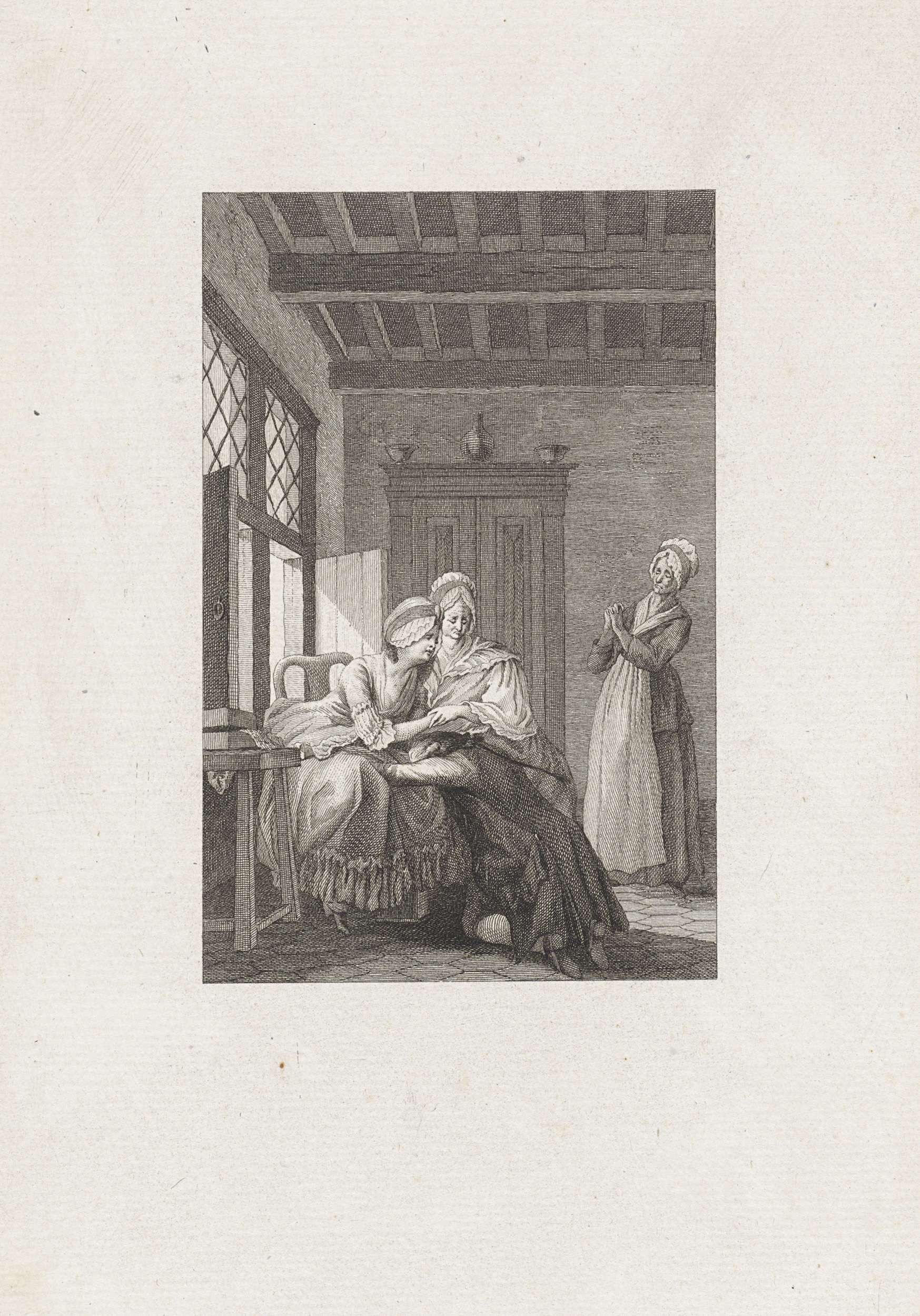 Reinier Vinkeles | Man huilt uit bij twee vrouwen, Reinier Vinkeles, 1779 | In een vertrek verbergt een man zijn gezicht in de schoot van een vrouw die, net als de vrouw naast haar, verdrietig kijkt. Illustratie bij het verhaal 'Sidney en Volsan'.