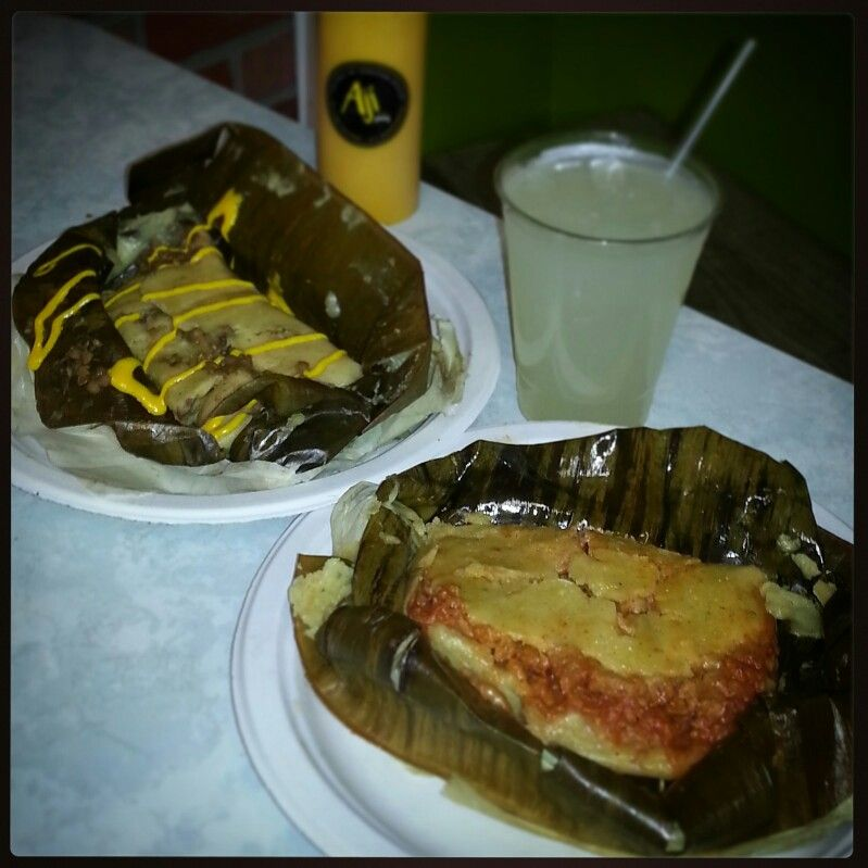 Enjoying a couple of vegan tamales with some Aji Sobremesa