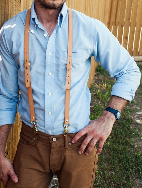 eb2be92cfe8 Hand Stitched Brown Wedding Leather Suspender   Mens Suspenders   Party  Suspenders   Casual Suspenders 0191 from Unihandmade Leather Studio. Suspensórios  De ...