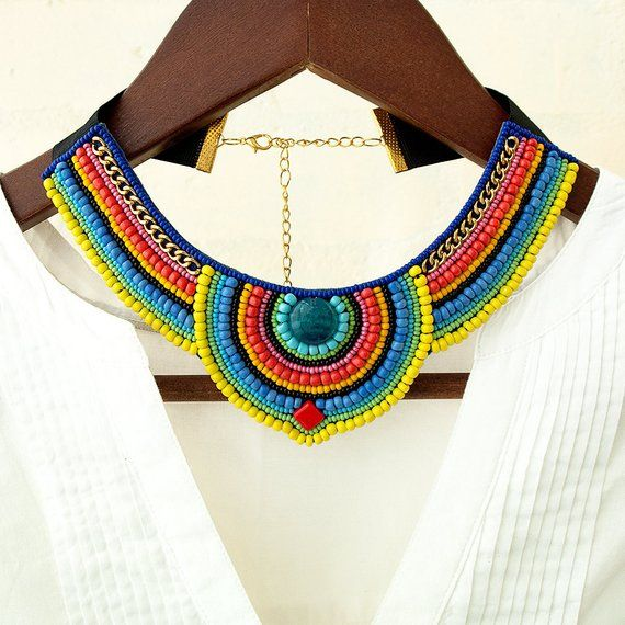 African jewelry for women Beaded tribal accessory for summer Colorful ethnic beadwork Bead embroidered necklace Fashion choker mexican style